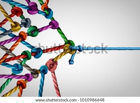 Against many business concept as one underdog single rope pulling in a tug of war with a large group of ropes tied together as a power and leader metaphor. #1010986648