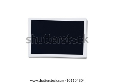 Stack of blank instant photographs isolated on white background with clipping path for the inside