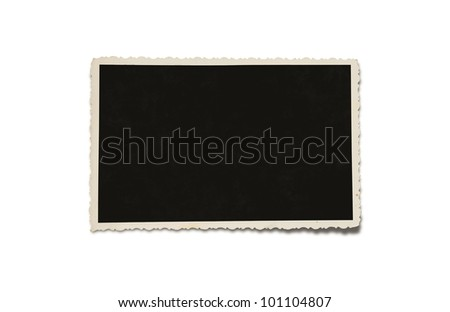 Old grunge blank photograph isolated on white background with clipping path for the inside