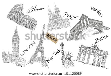 Europe theme illustration