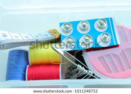 A set for sewing in a plastic box. #1011248752