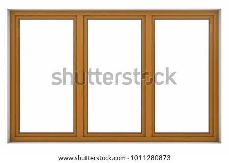 3d render of wooden window frame isolated on white background #1011280873