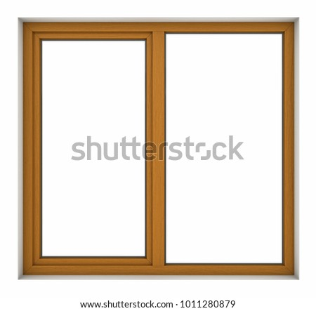 3d render of wooden window frame isolated on white background #1011280879