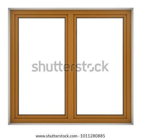 3d render of wooden window frame isolated on white background #1011280885