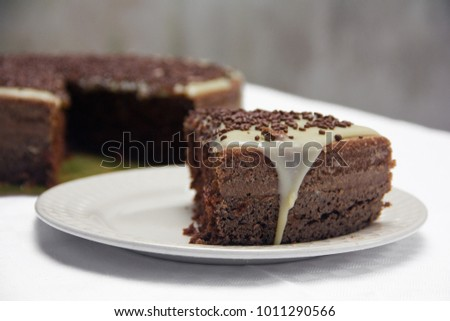 Chocolate cake with white chocolate cover #1011290566