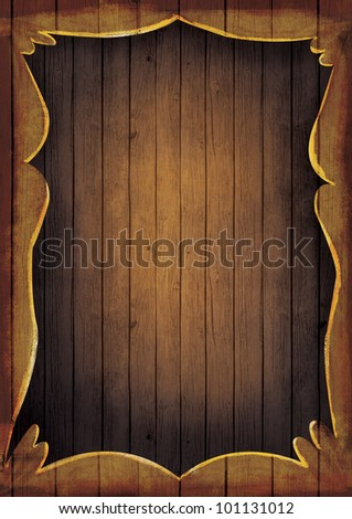 Wooden frame illustration. Artistic Hand painted wooden coutry western frame with copyspace.
