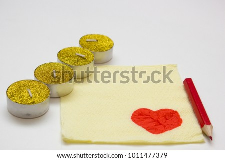 Valentine's day background with blank paper napkin for romantic notes and candles #1011477379