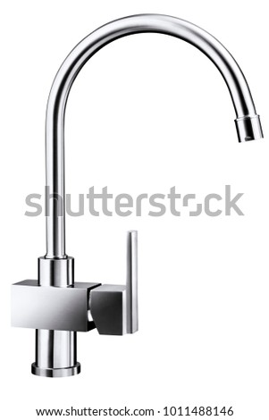 Stainless steel faucet white background