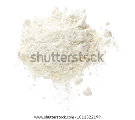 Pile of flour isolated on white background. Top view. Flat lay Royalty-Free Stock Photo #1011522199