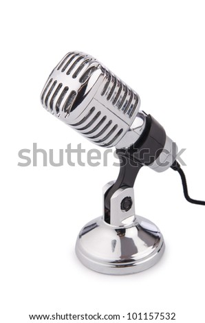 Retro vintage microphone isolated on white