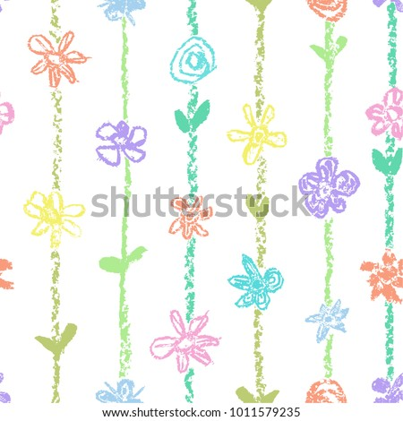 Pastel color seamless pattern with flowers and stroke stripes. Wax crayon like kid`s drawn. Hand drawn art vector background. Like child`s painting pastel chalk design summer meadow.