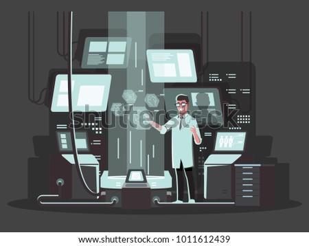Innovative technologies in use.  ,Vector illustration cartoon character