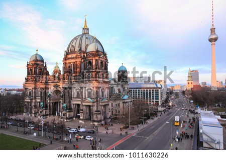 View from above, full of tourists enjoy visiting Berlin Cathedral, Berliner Dome at daytime, Berlin ,Germany #1011630226