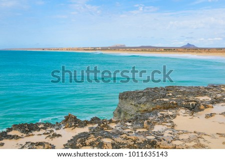 Marine landscape with volcanic rocks in Cape Verde, Africa #1011635143