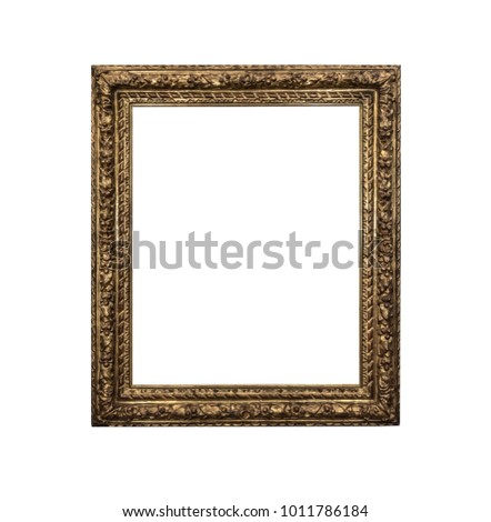 Old picture frame isolated on white background. #1011786184