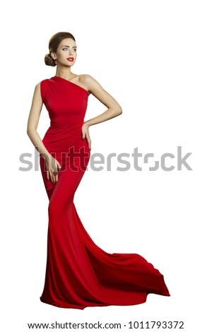 Lady Evening Dress, Elegant Woman in Long Gown with Tail, Fashion Model Isolated on White, beautiful well dressed girl #1011793372