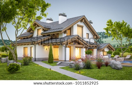 3d rendering of modern cozy house in chalet style with garage for sale or rent with large garden and lawn. Clear summer evenig with soft sky. Cozy warm light from window #1011852925