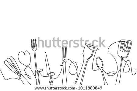 Cooking Seamless Pattern. Outline Cutlery Background. One Line Drawing of Isolated Kitchen Utensils. Cooking Design Poster. Vector illustration. Royalty-Free Stock Photo #1011880849