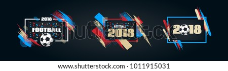 vector illustration football cup 2018. design of stylish background soccer championship. vector ball. element design cards, invitations, gift , flyers, brochures. pattern dynamic lines vector