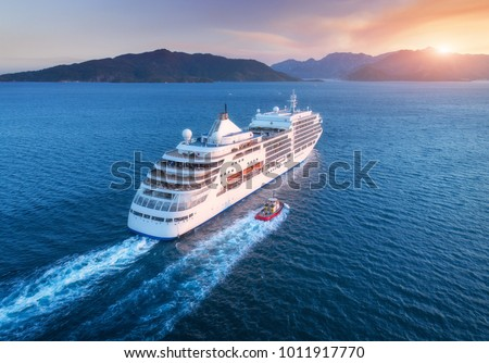 Cruise ship at harbor. Aerial view of beautiful large white ship at sunset. Colorful landscape with boats in marina bay, sea, colorful sky. Top view from drone of yacht. Luxury cruise. Floating liner #1011917770