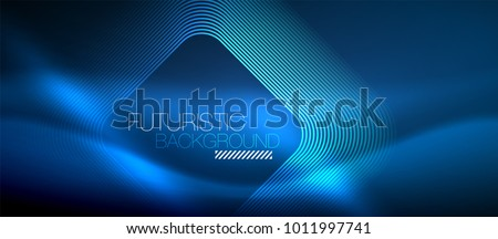 Neon glowing techno lines, blue hi-tech futuristic abstract background template with square shapes Royalty-Free Stock Photo #1011997741