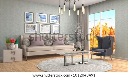Interior living room. 3d illustration #1012043491