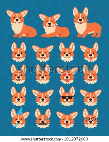 Cute Welsh Corgi constructor. Illustration of Corgi dog in different poses and it's head shows various emotions in flat cartoon style on blue background. Smiley. Element for your design. Emoticon.