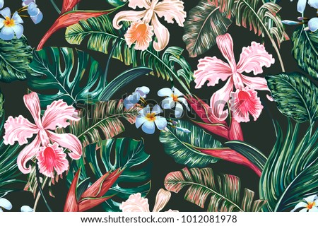 Tropical floral seamless vector pattern background with exotic flowers, palm leaves, jungle leaf, orchid, bird of paradise flower. Botanical wallpaper illustration in Hawaiian style