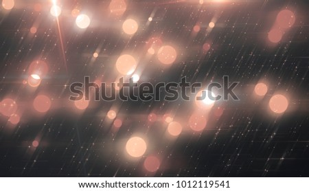 Abstract pink bokeh circles on a black background. Glamour illustration with particles and rays. #1012119541
