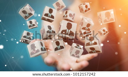 Businesswoman on blurred background choosing candidate for a job 3D rendering #1012157242