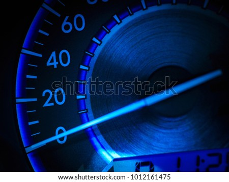 Abstract car speedometer in blue tone #1012161475