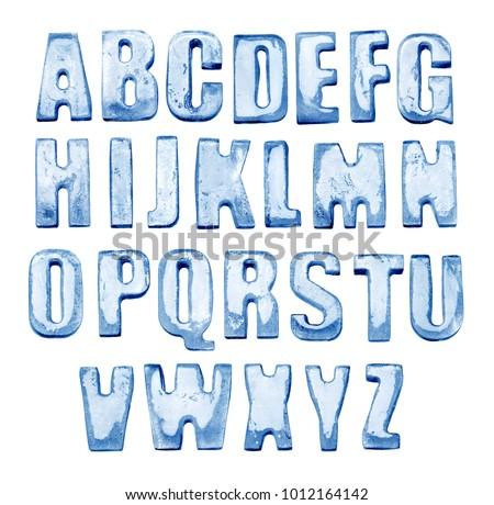 Ice Alphabet. Isolated on white. Real photos of frozen letters.