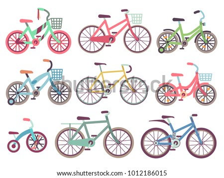 Urban family bikes flat vector set. Different bicycles collection. Urban bike and sport transport for family, transportation bicycle illustration