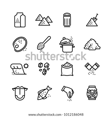 Salt vector line icons set. Illustration of salt icon for cook meat and fish Royalty-Free Stock Photo #1012186048