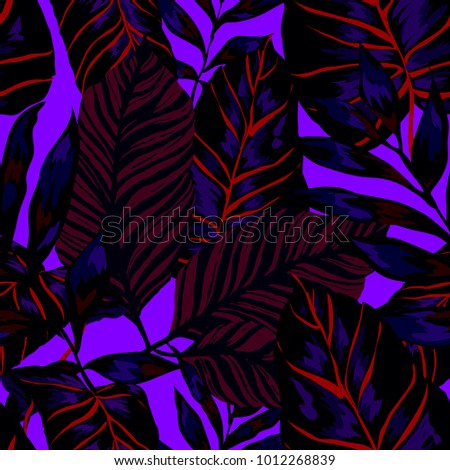 Watercolor seamless pattern with tropical leaves: palms, monstera, passion fruit. Beautiful allover print with hand drawn exotic plants. Swimwear botanical design. Vector.  #1012268839