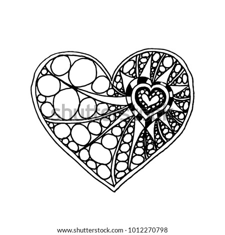 illustration of doodle hand drawn heart. Coloring page book for Valentine day. Black and white card for Saint Valentines Day. Symbol of love #1012270798