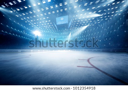 hockey stadium with fans crowd and an empty ice rink #1012354918