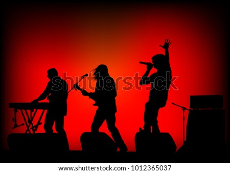 Musical group people in concert on stage #1012365037