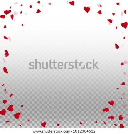 3d hearts. Corner frame on transparent grid light background. 3d hearts valentine's day fantastic design. Vector illustration. #1012384612