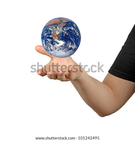Planet earth on palms.Elements of this image furnished by NASA #101242495