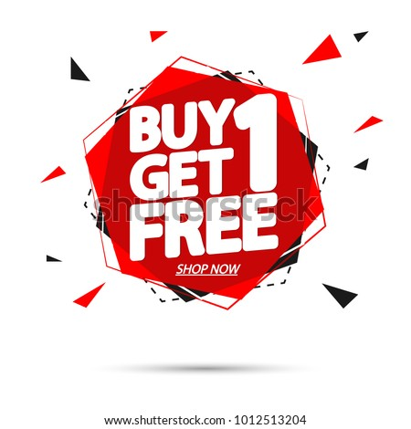 Buy 1 Get 1 Free, sale tag, banner design template, app icon, vector illustration #1012513204