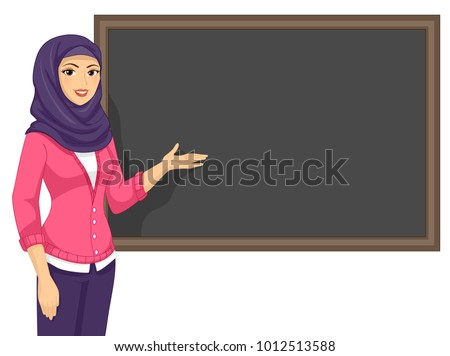 Illustration of a Muslim Girl Teacher Presenting Her Lesson in the Blackboard