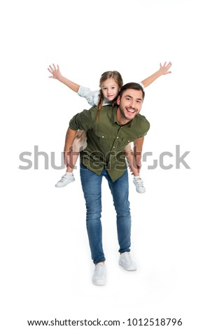 happy father and daughter piggybacking together isolated on white #1012518796