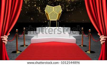 Red Event Carpet, Stair and Gold Rope Barrier Concept and King Throne Chair 3d rendering. #1012544896
