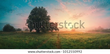 Spring panoramic landscape. Sky with fluffy clouds over green field. Royalty-Free Stock Photo #1012550992