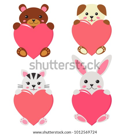 Valentine's day pets, cute cartoon kawaii dog, bear, cat and bunny with hearts. Children style. Sweet and romantic mood greeting card. Vector illustration.