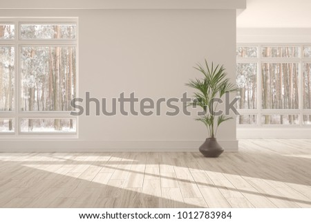 White empty room with winter landscape in window. Scandinavian interior design. 3D illustration #1012783984