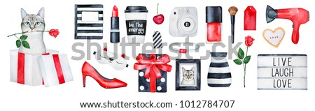 "Big set of ""gift for her"". Various elements for birthday card, holiday event, symbols and ideas guide. Modern devices, cosmetics, clothing, girlish things. Black and white stripes. Hand drawn art."