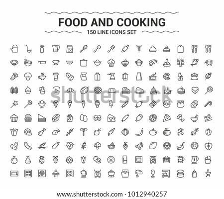 Food and Cooking. Minimalism vector symbols, line icons set for mobile and desktop screens design. Royalty-Free Stock Photo #1012940257