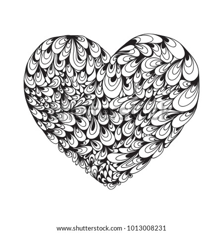 Heart Icon, hand drawn icon for valentines and wedding. Symbol of love. Logo. Vector illustration zentangl, doodle, dudling. #1013008231